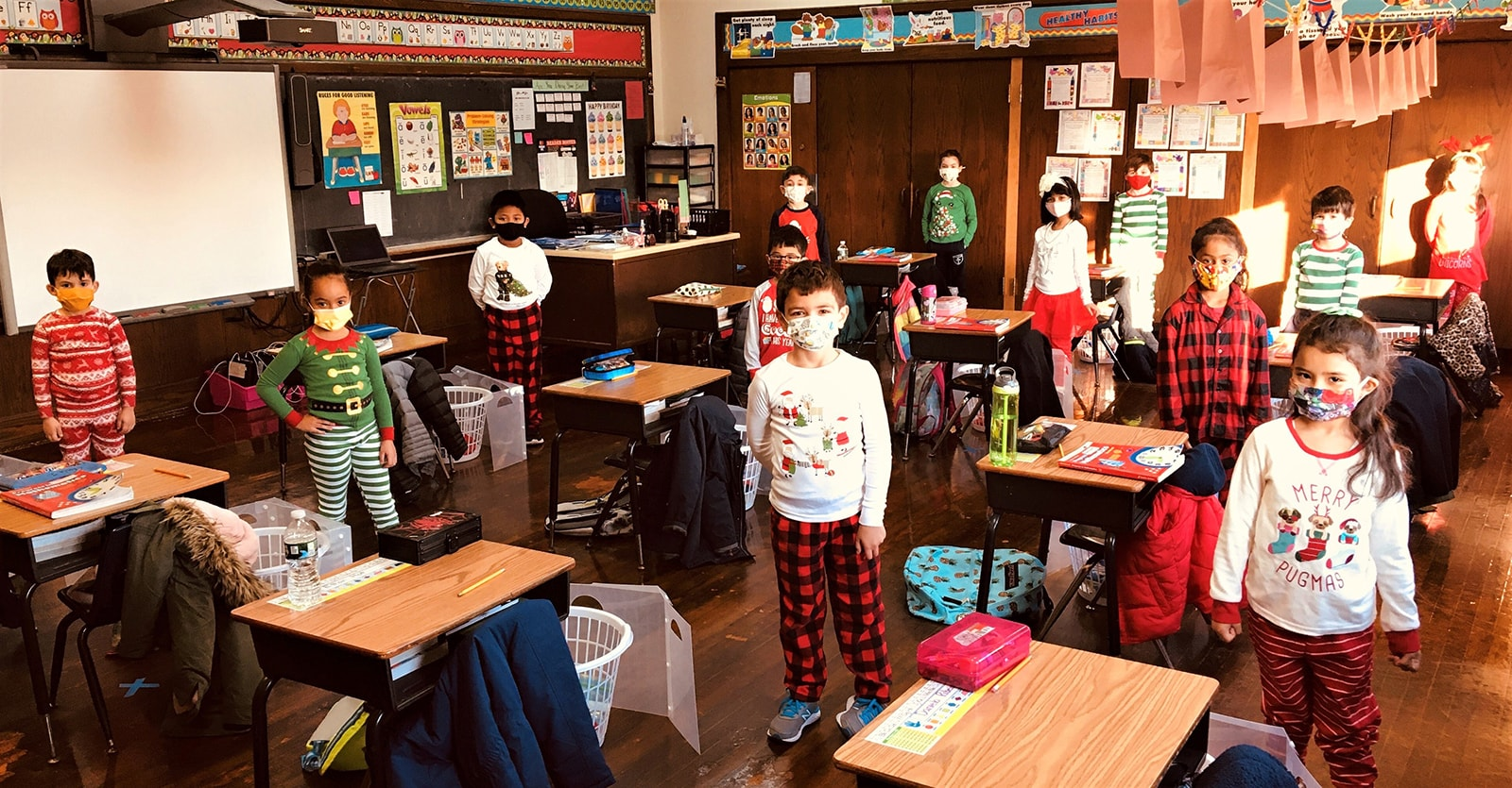 1st Grade students students dressed for pajama day December 2020