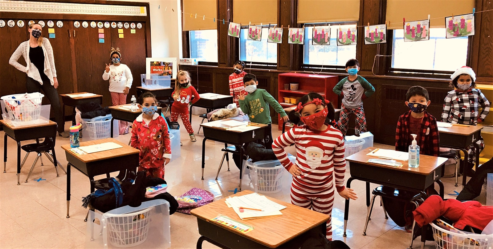 Kindergarten students dressed for pajama day December 2020